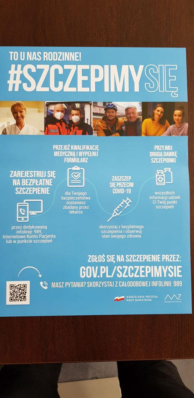 Plakat w sprawie akcji #szczepimysię