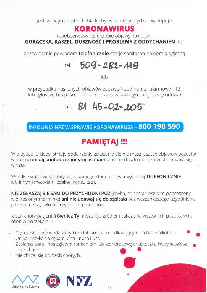 Plakat - jak postępować w przypadku podejrzenia koronawirusa. kliknij na obrazie ,aby wczytać dokument .pdf