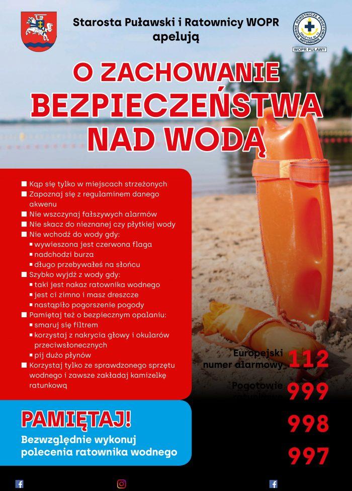 Plakat o zachowanie bezpieczeństwa nad wodą